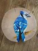 geai bleu oiseau birds log painted wood art