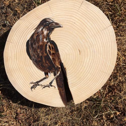 art wood log slices painted peinture sur bois corbeau corneille crow birds
