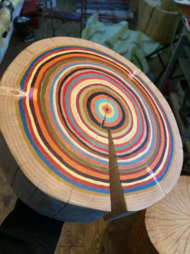 tranche arbre psychédélique color line work